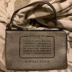 Coach Metallic silver pebbled Pouch